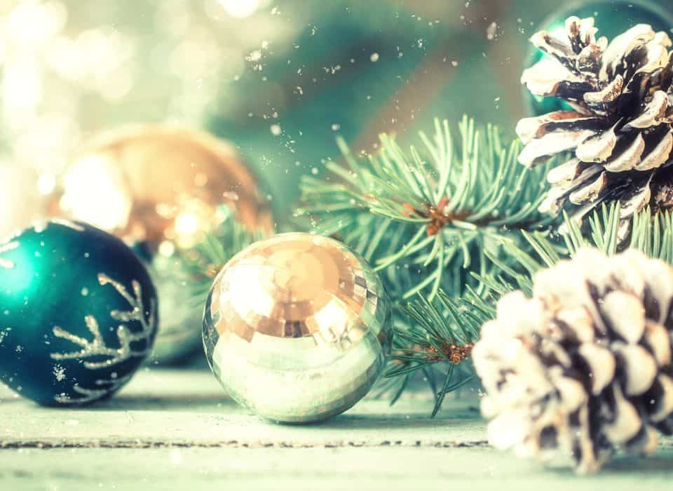 Christmas ornaments and pinecones