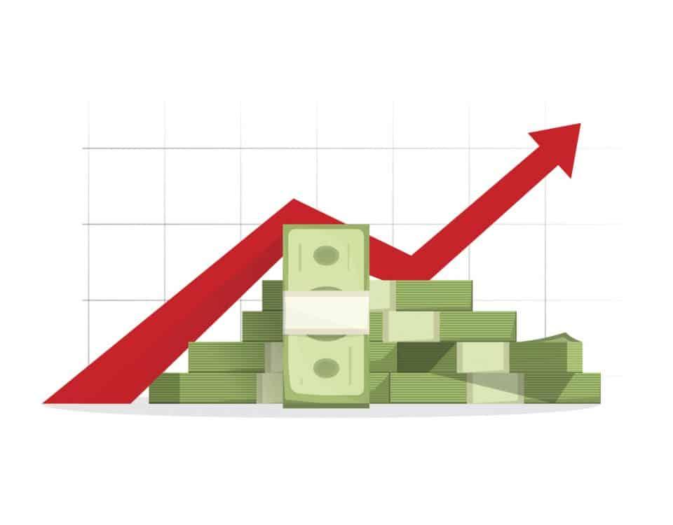 Money rising up graph arrow